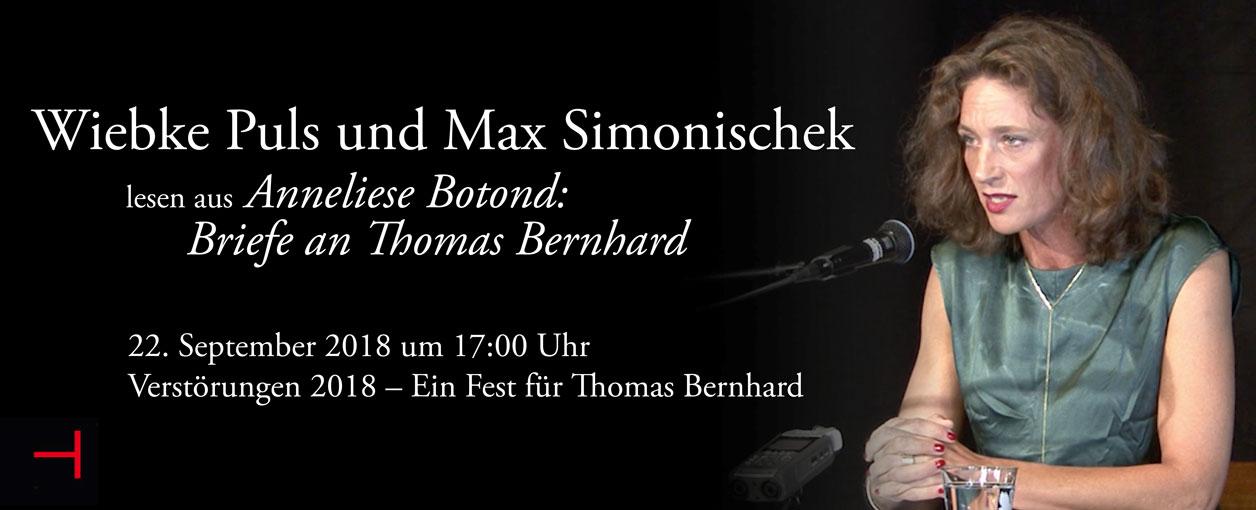 . Wiebke Puls und Max Simonikschek lesen aus Anneliese Botond: Briefe an Thomas Bernhard